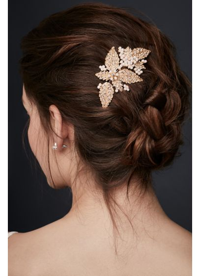 Floral Comb with Pearl and Crystals - Wedding Accessories