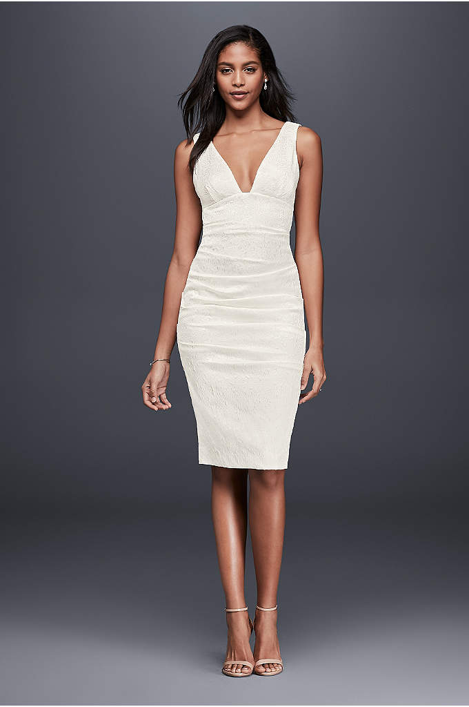Ruched Jacquard Sheath Dress with Deep-V Neckline - A figure flaunting little white dress, this plunging-neckline