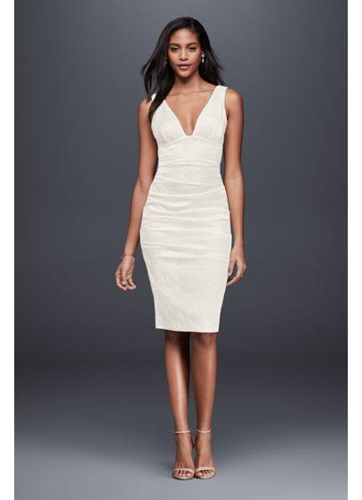 Short Sheath Simple Wedding Dress - Nicole Miller
