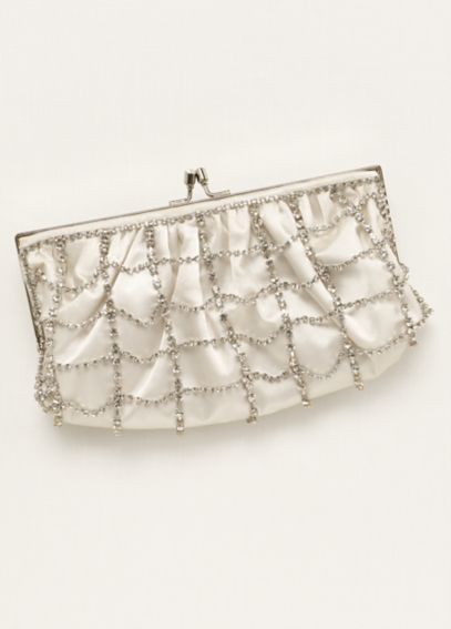 La Sera by Franchi Chain Link Crystal Clutch CAGE
