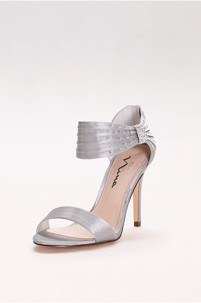 Satin Heels with Embellished Ankle Strap