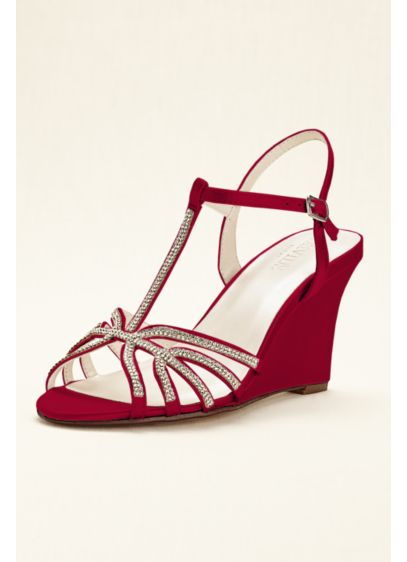 David's Bridal Red (Crystal T-Strap Satin Dyeable Wedge)