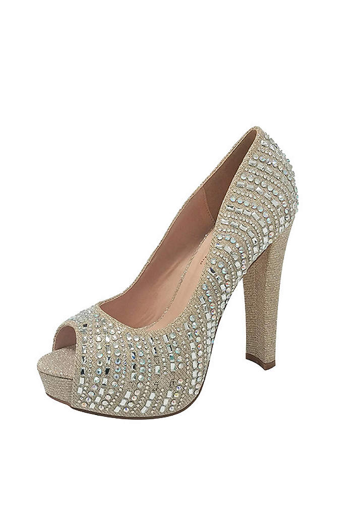 Crystal-Embellished Platform Peep-Toe Heels - Rows of crystals, a thick heel, and a