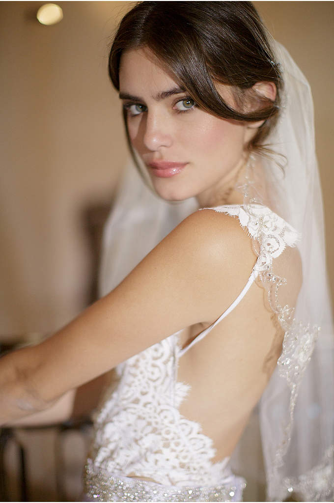 Beaded Scalloped English Tulle Veil with Comb - Hand-sewn crystals and beads trim the scalloped edges