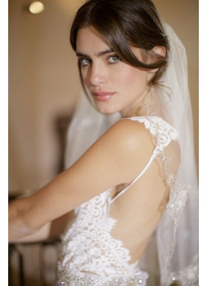 Beaded Scalloped English Tulle Veil with Comb - Wedding Accessories