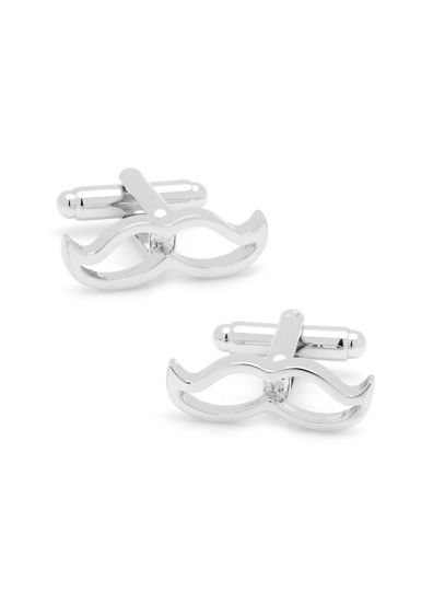 Cool Cut Silver Moustache Cufflinks - Wedding Gifts & Decorations