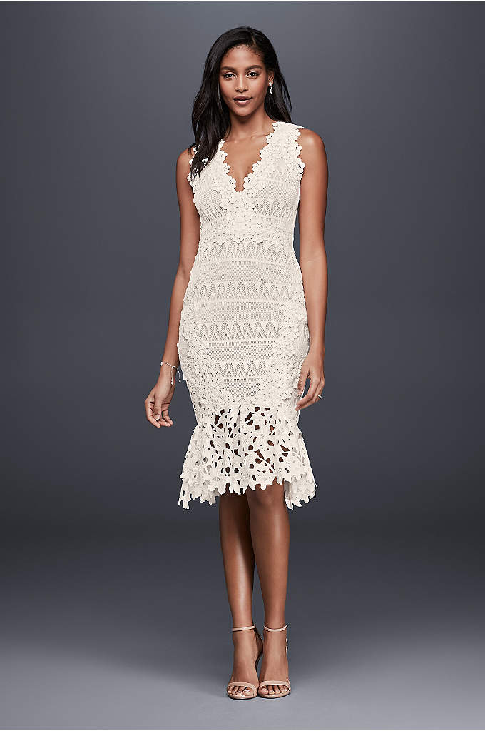 Mixed Lace Sheath Midi Dress with Fishtail Hem - This stretch-infused, form-fitting sheath's fun mix of crochet,