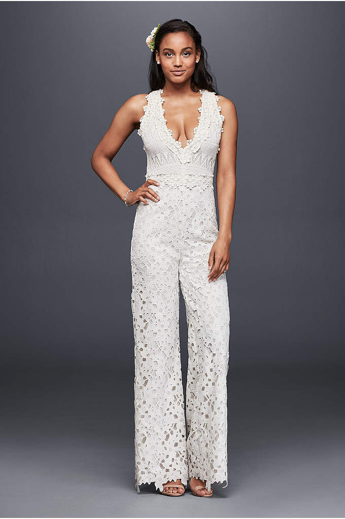 Guipure Lace and Crochet Jumpsuit - A wedding look for the serious fashionista, this
