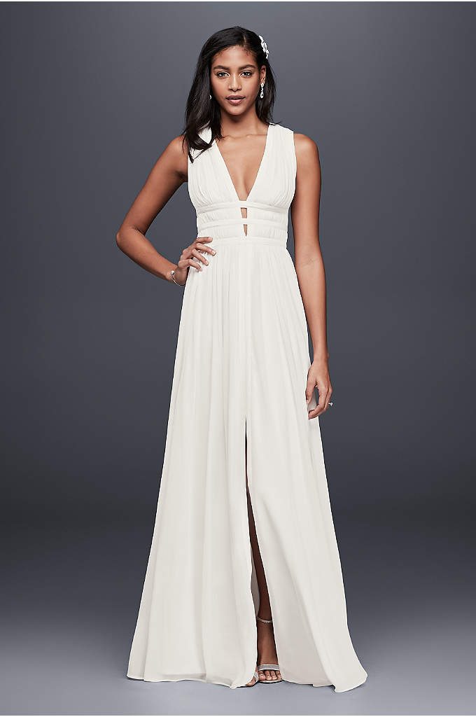 Banded Silk Goddess Gown - Sleek banding defines the softly pleated plunging bodice