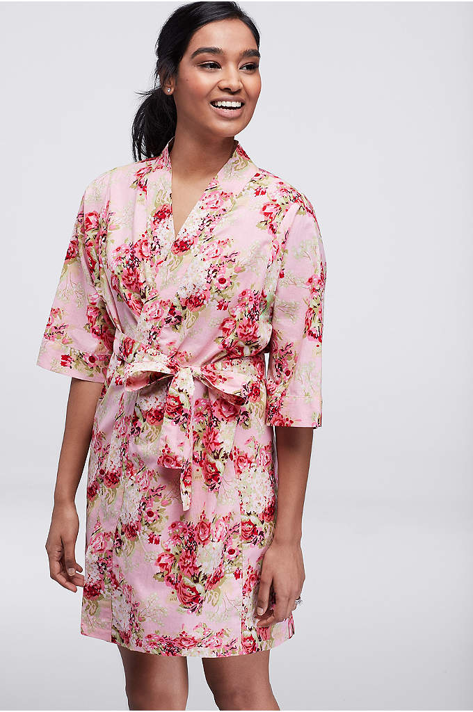 Floral Print Woven Cotton Robe - Perfect for primping, lovely for lounging, and comfy