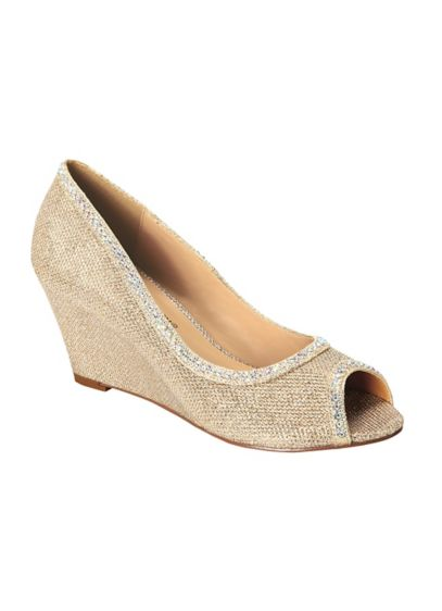Blossom Beige (Peep Toe Wedge with Crystal Embellished Trim)