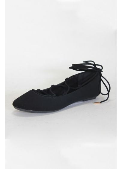 Anne Michelle Black (Lace-Up Ballet Flats)