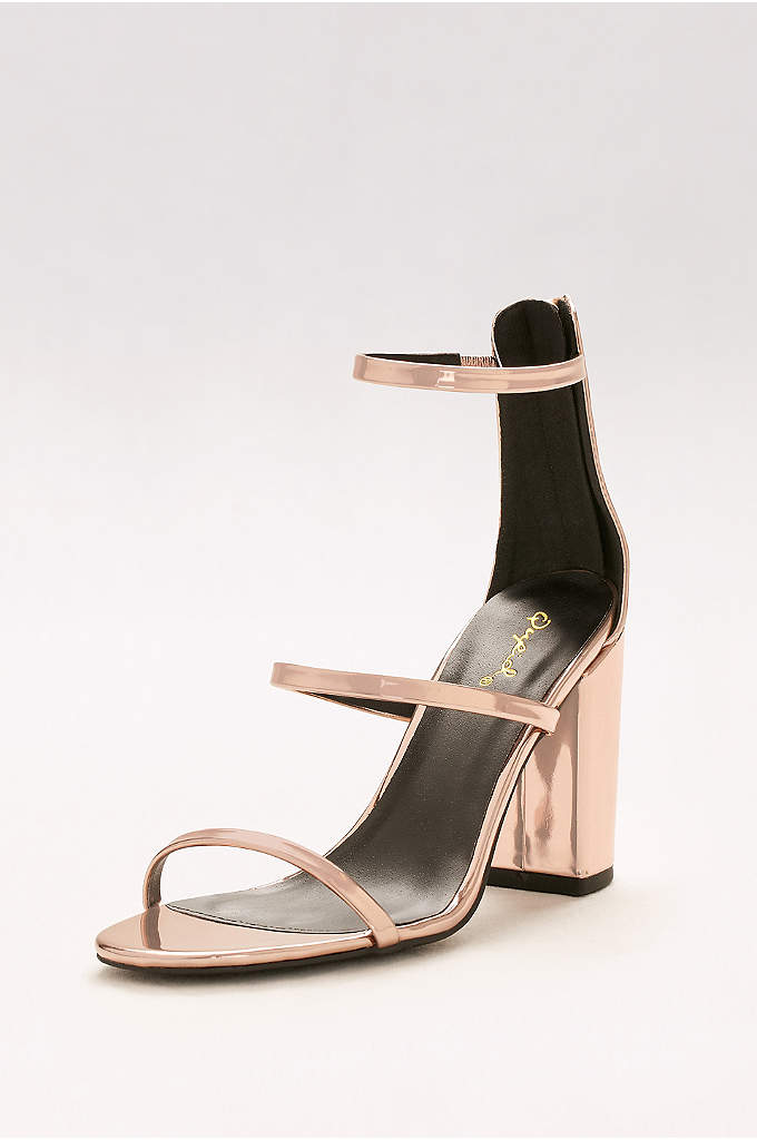 Metallic Strappy Block Heel Sandals - Perfect outdoor wedding shoes for brides and guests,