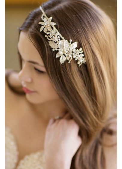 Vintage-Inspired Floral Headband with Pearls - Wedding Accessories