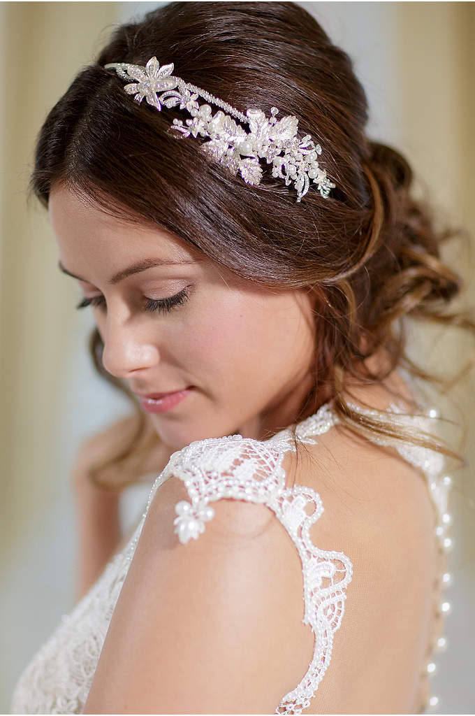Vintage-Inspired Floral Headband with Pearls - This beautifully intricate hair accessory features leafy filigree