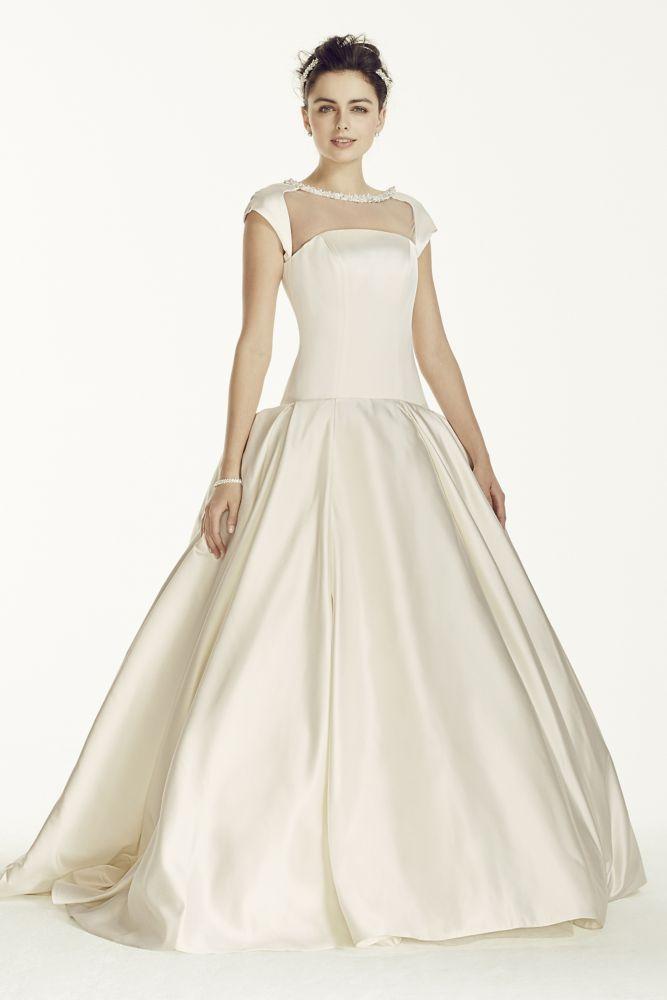 Oleg Cassini Satin Cap Sleeve Beaded Wedding Dress Style CJS720