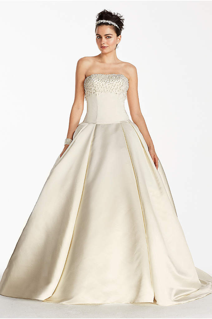 Oleg Cassini Satin Beaded Bodice Wedding Dress - Whether your nuptials are taking place in a
