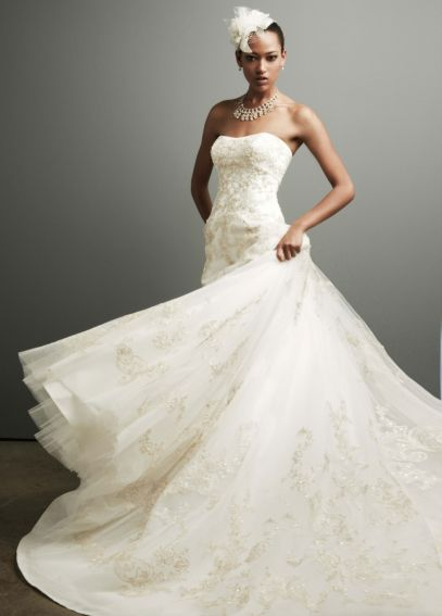Strapless Tulle Ball Gown with Allover Gold Lace  CKP550