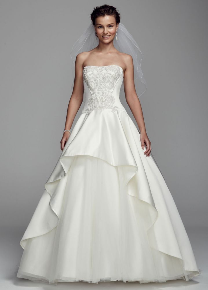 Oleg cassini strapless satin ball gown wedding dress with for Wedding dress designer oleg cassini