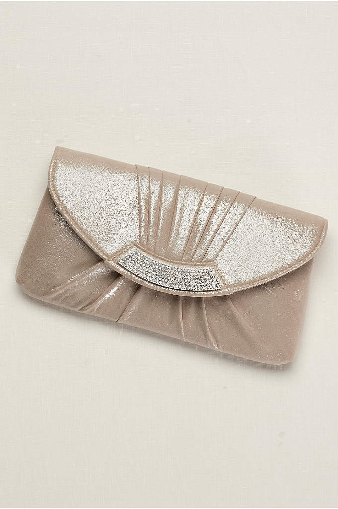 Pleated Metallic Envelope Clutch - Shimmering fabric designed with pretty pleats complements the
