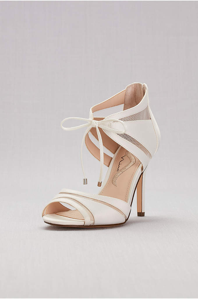 Mesh-Inset Ankle-Tie High Heels - Sheer mesh insets and ankle ties give these