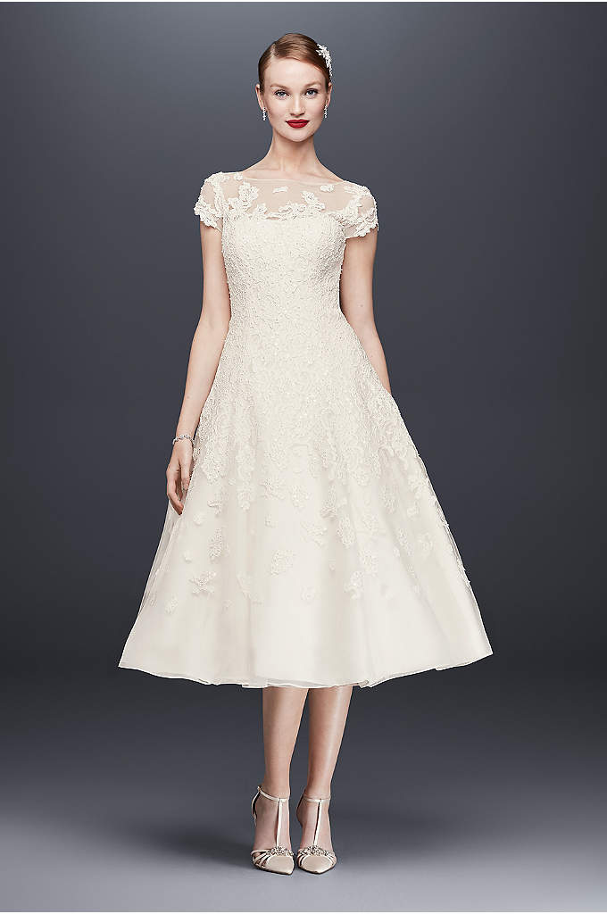 Oleg Cassini Cap Sleeve Illusion Wedding Dress - This cap sleeve, tea-length wedding dress features opulent