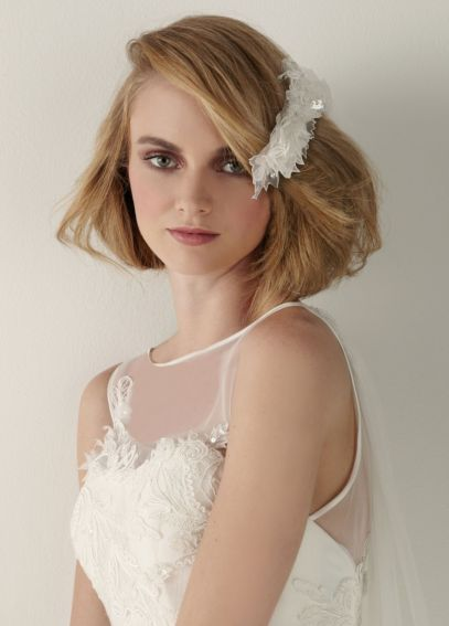 Lace and Floral Comb with Crystals CMS251035