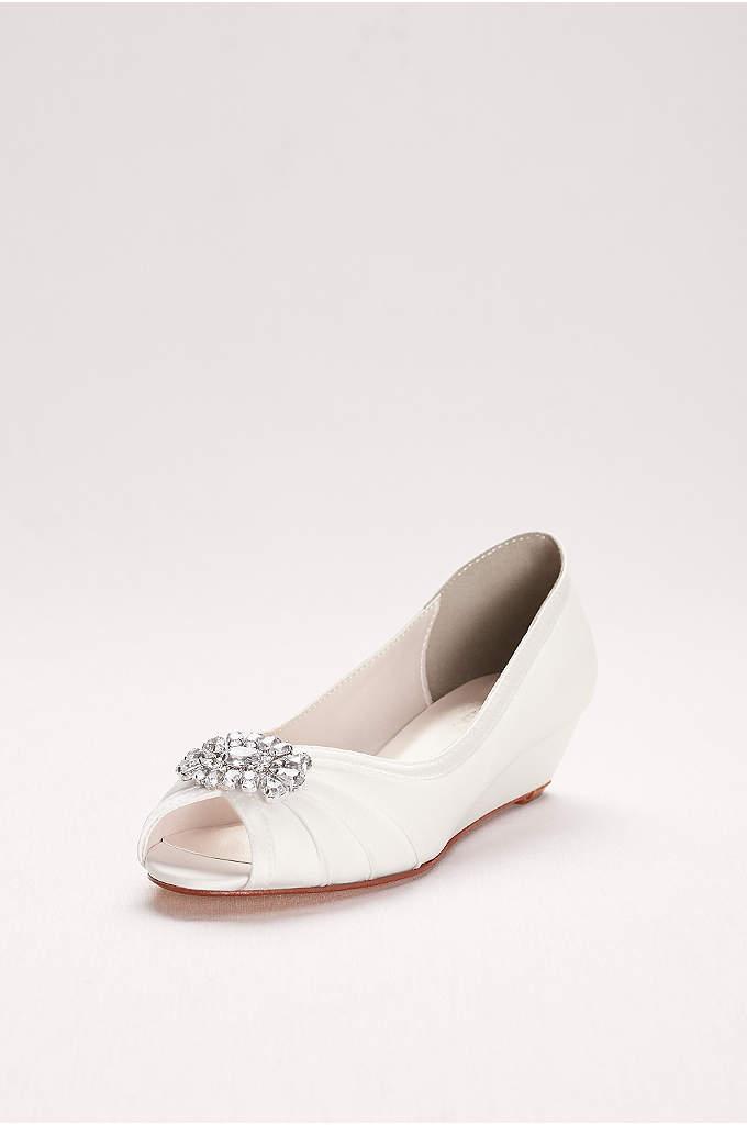 Jeweled Satin Peep-Toe Mini Wedges - Satin peep-toe wedges with crystal ornament - perfect
