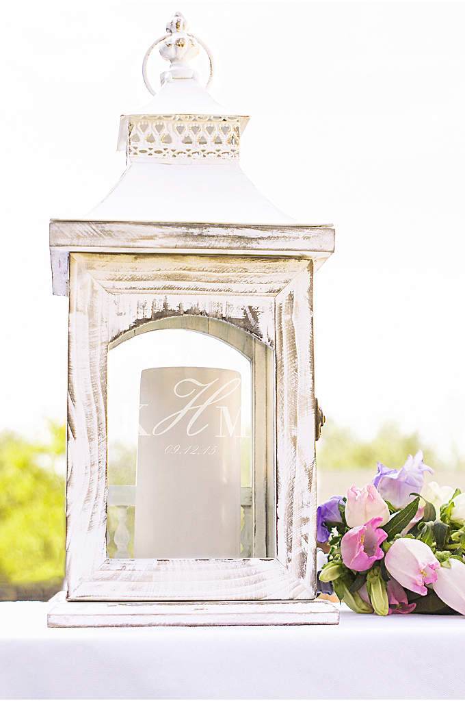 Personalized Rustic Monogram Centerpiece Lantern - The Personalized Rustic Centerpiece Lantern will give an