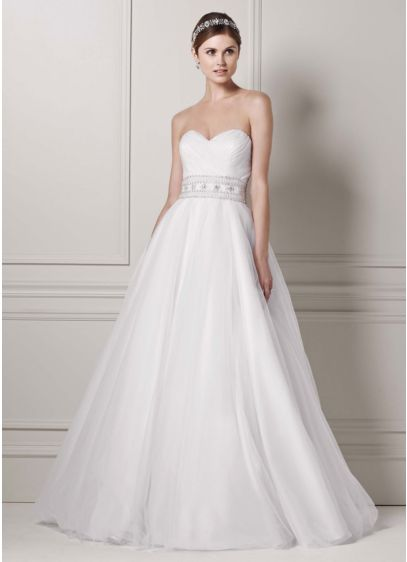 Oleg Cassini Wedding Dress with Beaded Belt | David\'s Bridal