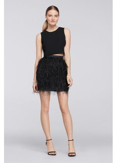 Short Two Piece Dress with Feather Skirt CR281609
