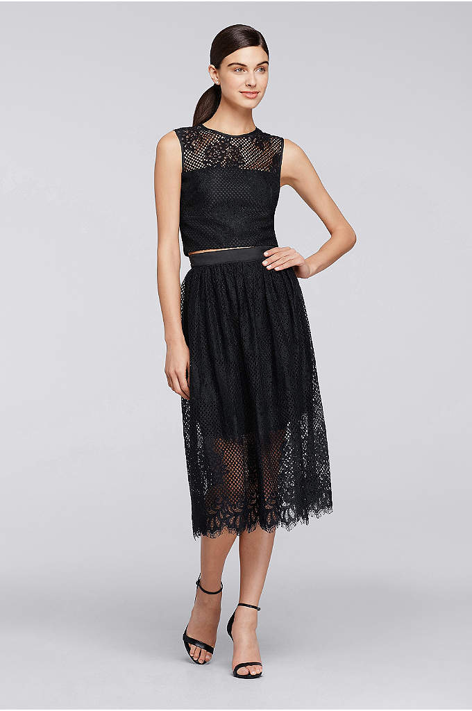 Two Piece Sleeveless Lace Top with Full Skirt - Not ready to go for a full crop