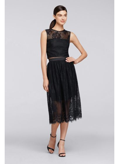 Tea Length Black Soft & Flowy Cheers Cynthia Rowley Bridesmaid Dress