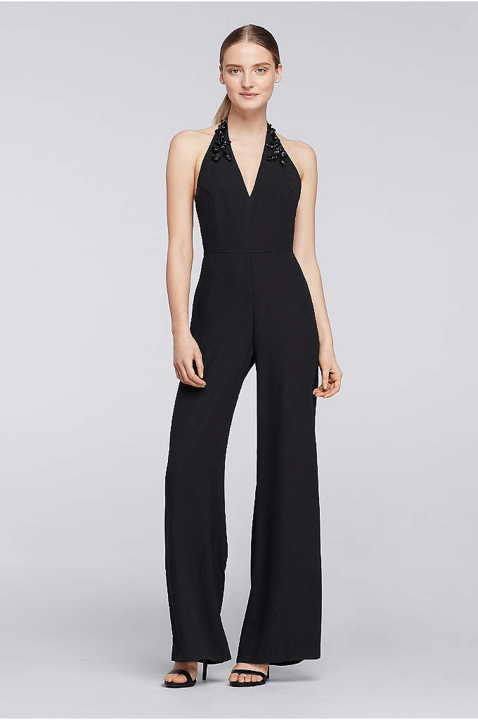Halter Crepe Jumpsuit with Embellished Neck - Strut confidently into any room in this fun