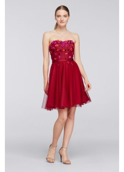 Short Red Structured Cheers Cynthia Rowley Bridesmaid Dress