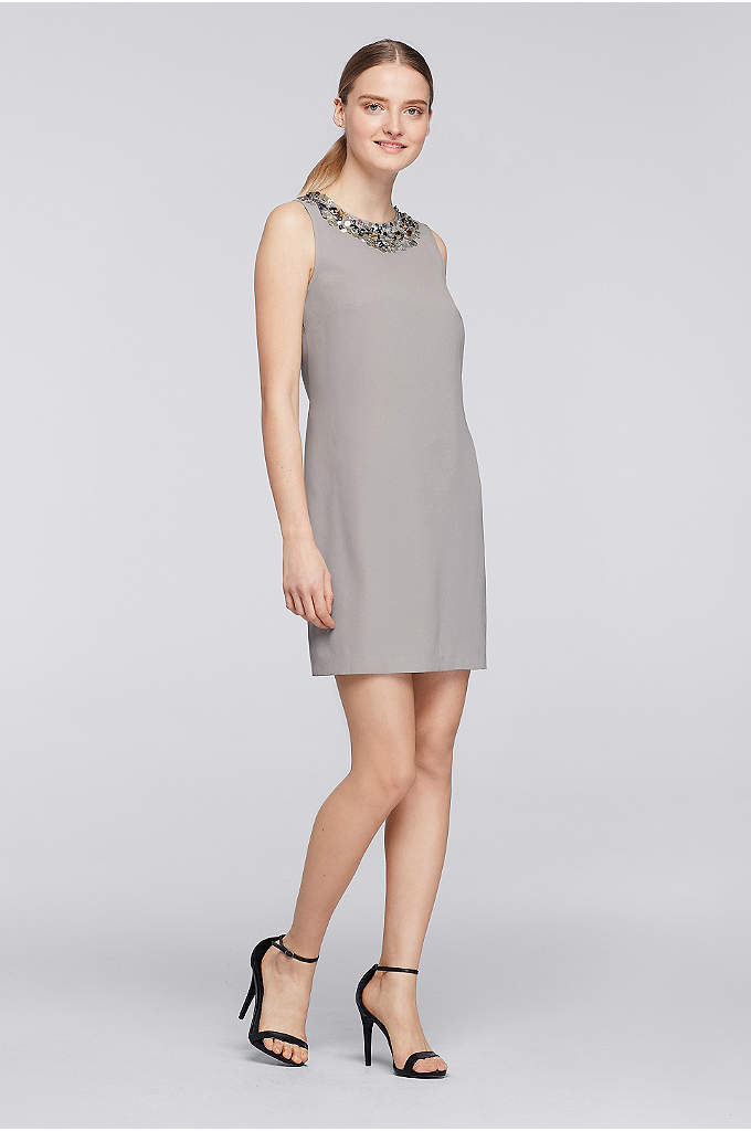 Short Crepe Shift Dress with Sequined Neck - A ring of colored sequins glimmer like confetti