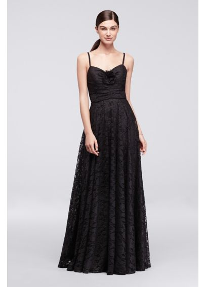 Lace Long Dress with Rose Detail CR281669