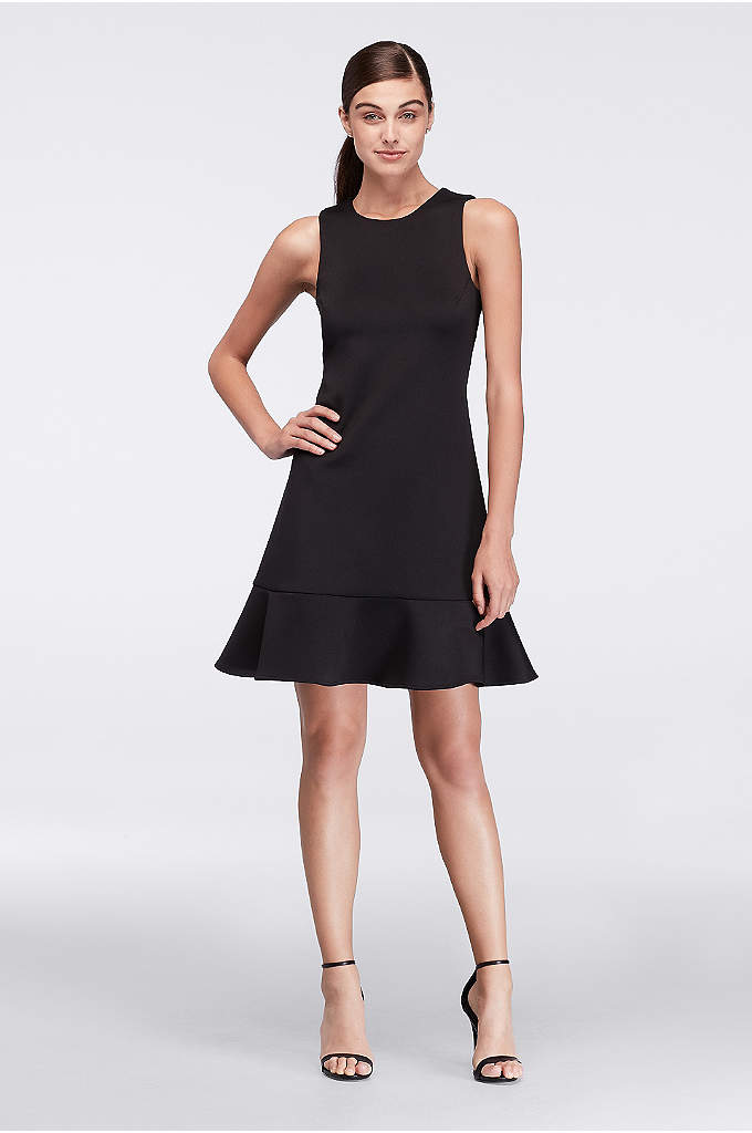 Flounced Neoprene Party Dress - A flippy little flounce finishes the hemline of