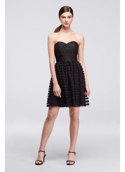 Short Black Soft & Flowy Cheers Cynthia Rowley Bridesmaid Dress
