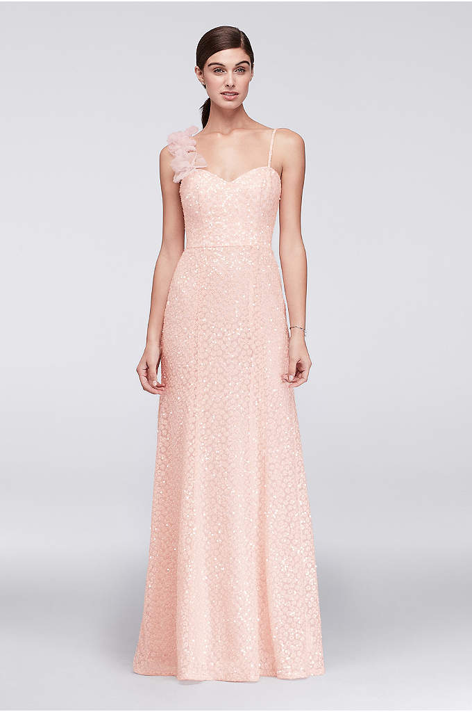 Floral Embroidered A-Line Gown with Clear Sequins - Clear sequins give this sleek A-line gown from