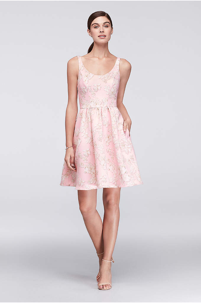 Printed Satin Scoop Neck Fit and Flare Dress - Photographic freesia blossoms grow on the soft satin