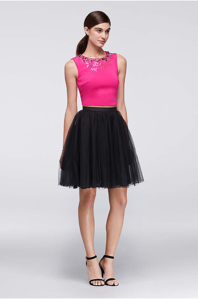 Jeweled Neoprene Crop Top and Tulle Skirt Set - This is one outfit that's ready to celebrate.