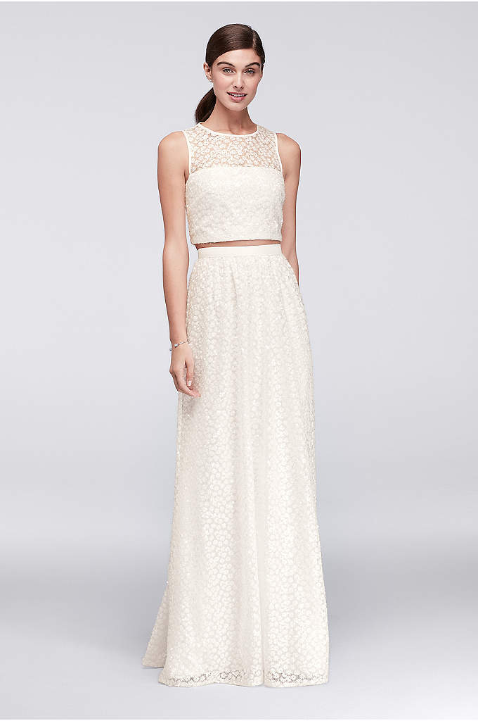 Sequined Crop Top and Skirt Two-Piece Dress - Clear sequins give this sleek two-piece dress from