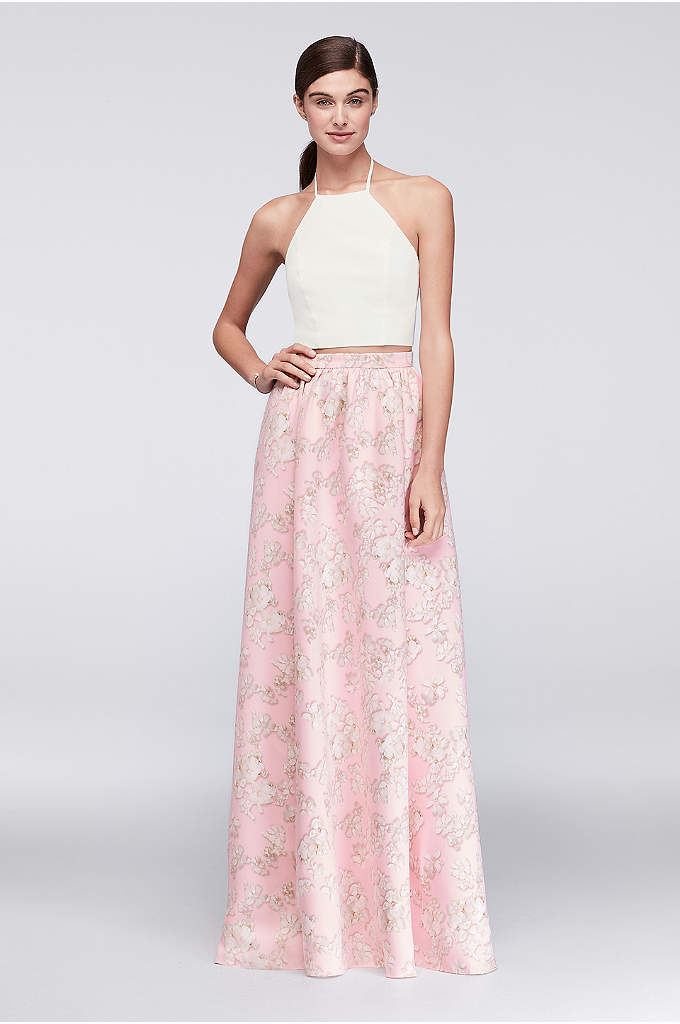 Crepe Crop Top with Printed Satin Skirt Set - Photographic freesia blossoms grow on the soft satin