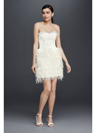 Two piece wedding dress with feather skirt david 39 s bridal for Feather wedding dress davids bridal
