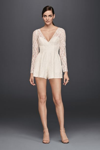 Short Lace Long Sleeve Romper David S Bridal