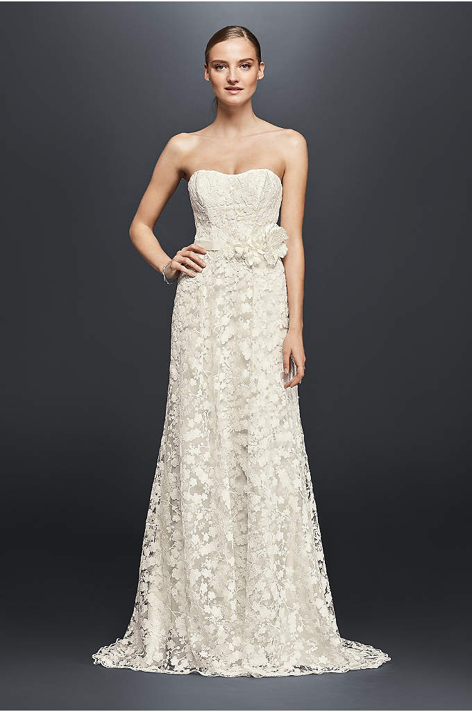 Embroidered Lace Wedding Dress with Floral Sash - The simple silhouette of this strapless A-line lets