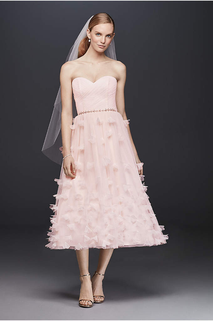 White by vera wang organza and tulle wedding dress david for Vera wang tea length wedding dress