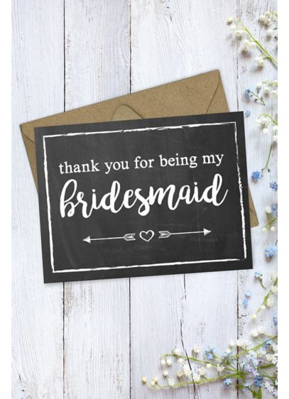 Chalkboard Bridesmaid Thank You Card - Wedding Gifts & Decorations