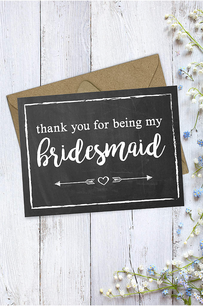 Chalkboard Bridesmaid Thank You Card - Pair your bridesmaid's gift with this chalkboard-style maid